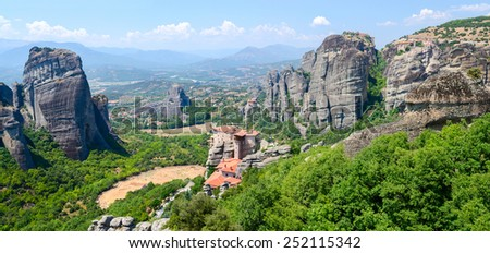Greece, Meteors, panoramic view from the plateau to the valley of Thessaly - stock photo