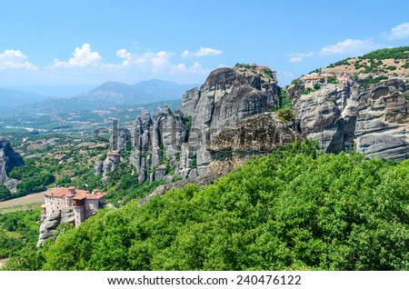 Greece, Meteors, view of the valley of Thessaly - stock photo