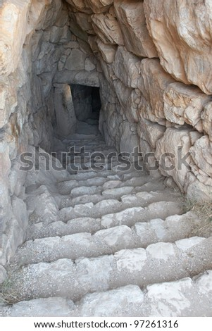 Greece, Mycenae. A secret staircase leading to an underground water tank - stock photo