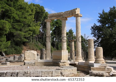 Greece Olympia The Philippeion, Archaeological site of Olympia - origins of the Olympic games. - stock photo