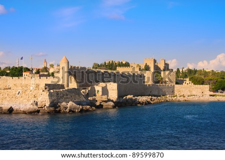 Greece. Rhodes. An ancient fortification round an old city - stock photo