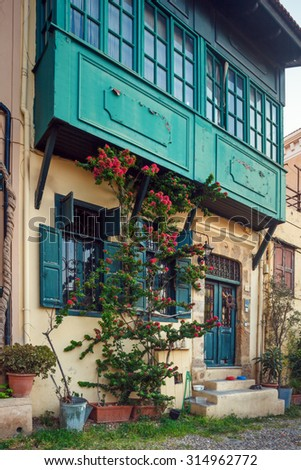 Greece, Rhodes - July 19 House in the Old City  on July 19, 2014 in Rhodes, Greece