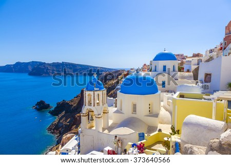 Greece Santorini church domes