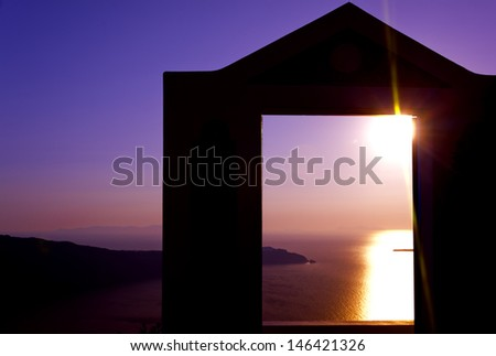 Greece Santorini island in Cyclades, Imerovigli view . - stock photo