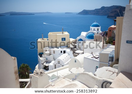 Greece Santorini island panoramic view - stock photo