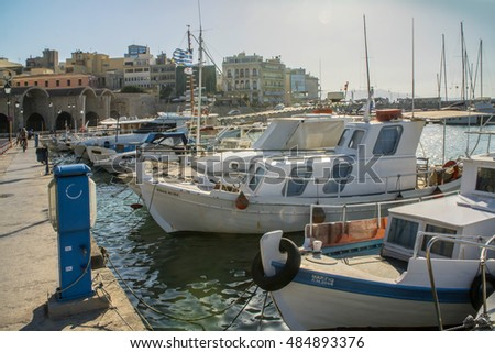 GREECE, SANTORINI - JULY 20, 2016: boat in the Greek port