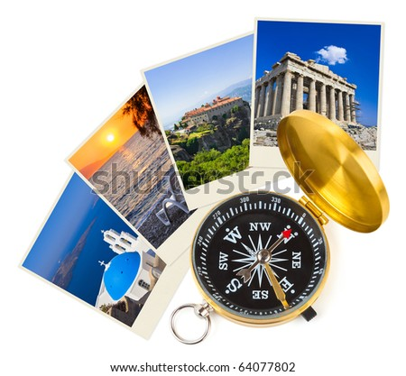 Greece shots and compass - nature and travel (my photos) - stock photo