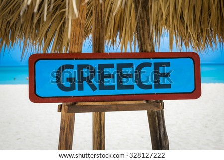 Greece sign with beach background - stock photo