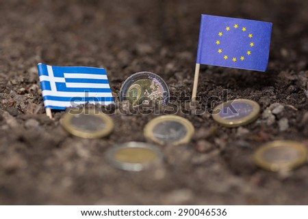Greece sinking into earth together with the eruo - stock photo