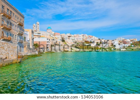 Greece Siros Island little venice, Main capitol wide view cyclades islands Greece