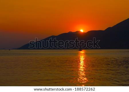 Greece Sunset - stock photo