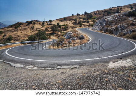 Greece, the road in the mountains - stock photo