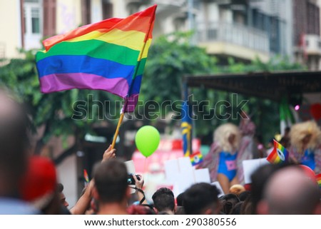 GREECE, Thessaloniki JUNE 20, 2015: Participants and members of the LGBT community during the 4th Gay and Lesbian Pride Festival in Thessaloniki. - stock photo