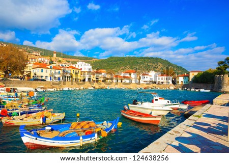 Greece, traditional fishing boats in main port of Nafpaktos in Central Greece - stock photo