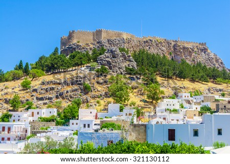 Greece trip in summer, Rhodos island, Lindos, architecture of the city.