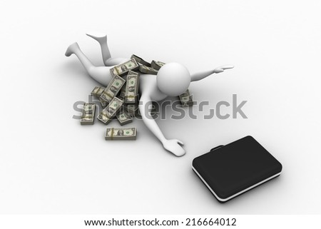Greedy business man with dollar notes - stock photo