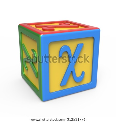 Greek alphabet toy block - letter Chi - stock photo