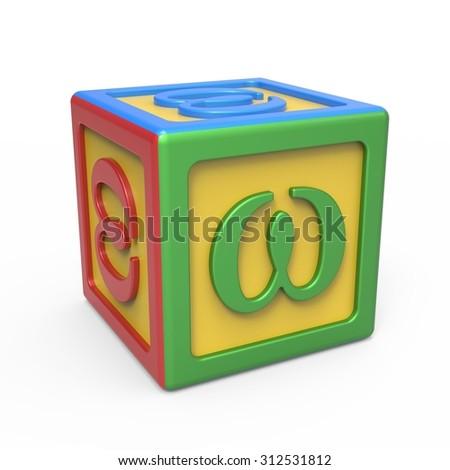 Greek alphabet toy block - letter Omega - stock photo