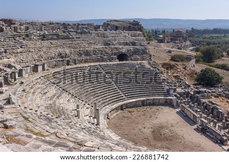 Greek amphitheater in Miletus city with Honorary seats and colomns, Turkey