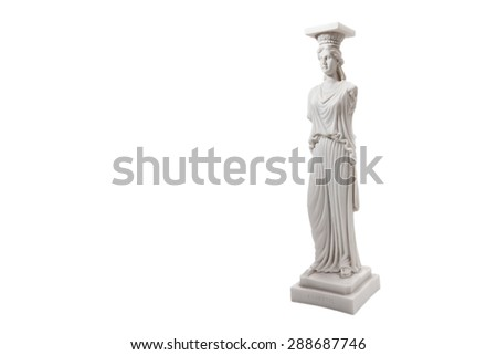 Greek ancient statue of the Caryatids on white background - stock photo