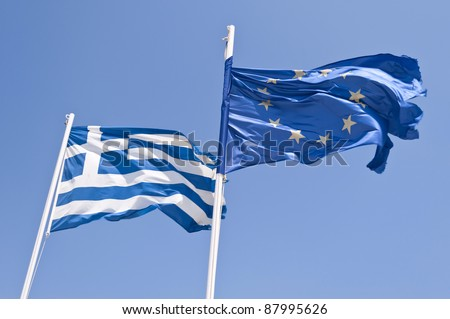 Greek and european flag - stock photo