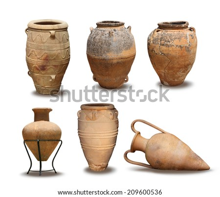 Greek Antique and Minoan vase clay pots isolated - stock photo