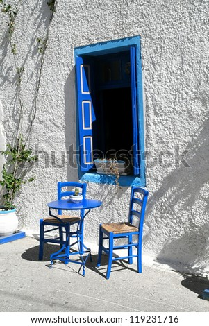 Greek atmosphere, traditional tavern in Kardamena, Kos island