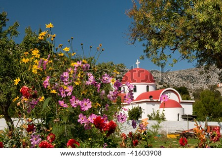 Greek catholic church on Lassithi plateau in Crete - stock photo