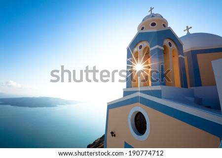 Greek Church and Cross - Santorini - stock photo