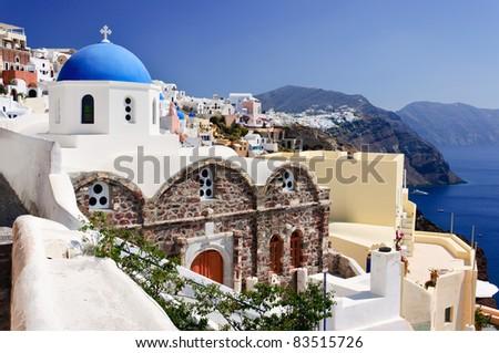 Greek church in Santorini - stock photo