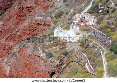 Greek church on the mountain - stock photo
