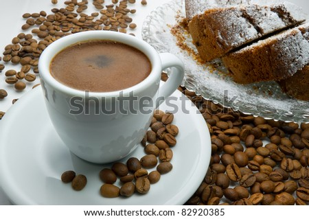 Greek coffee and cake - stock photo