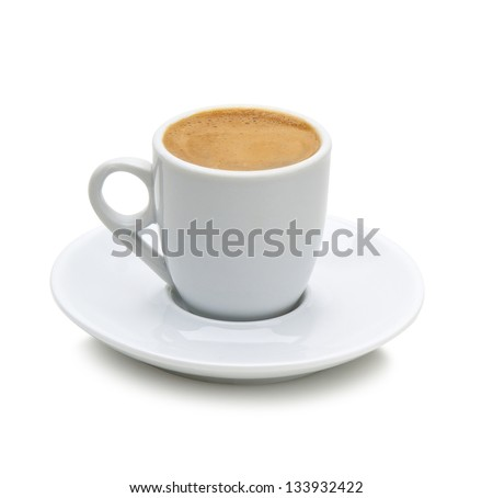 greek coffee in a white cup isolated on a white background(path included) - stock photo