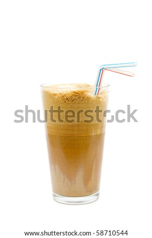 Greek cold coffee - frappe isolated on white - stock photo