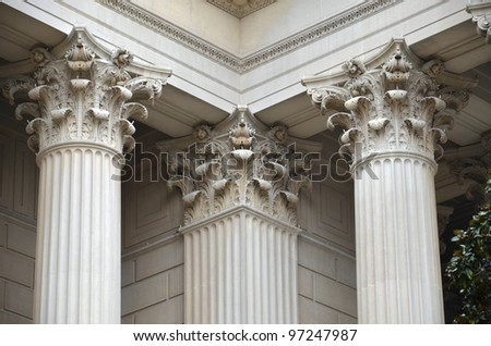 Greek Column detail of National Archives - stock photo