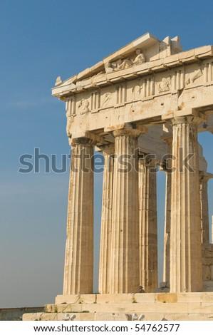 greek columns, acropolis, athens - stock photo