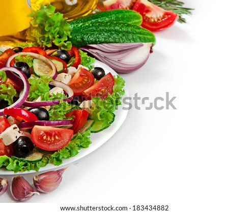 Greek cuisine - fresh vegetable salad isolated on white background