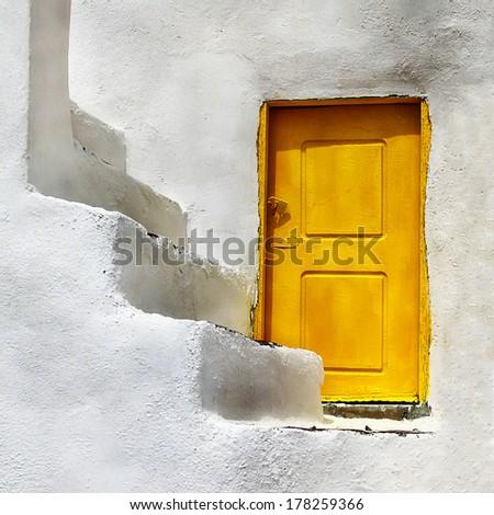 Greek doors. Santorini - stock photo