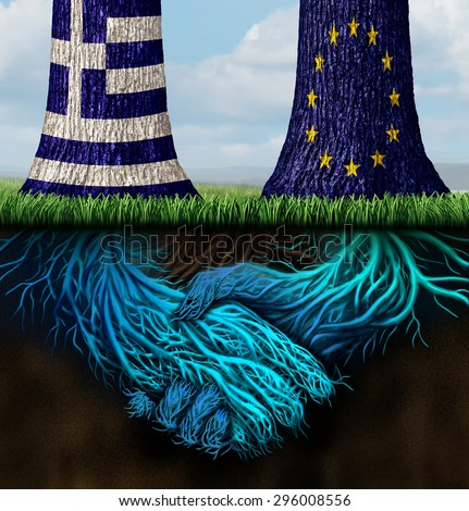 Greek europe agreement for a bailout and Greece Europe success concept as two trees with inderground roots shaped as shaking hands with the European union and Greek flag. - stock photo