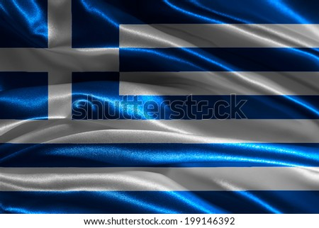 Greek flag fabric with waves - stock photo