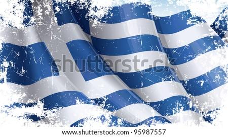 Greek Flag Grunge - stock photo