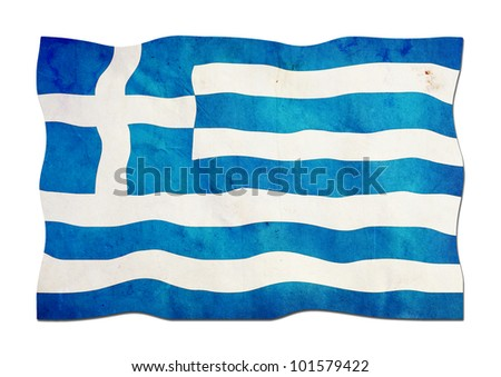 Greek Flag made of Paper - stock photo