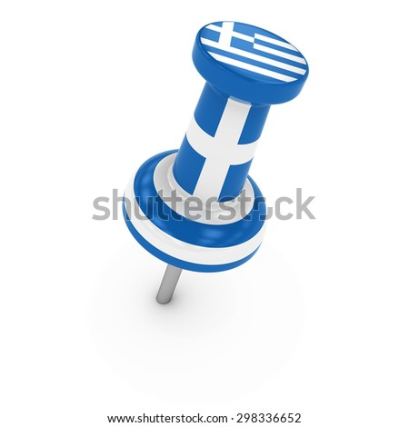 Greek Flag Plastic Push Pin Isolated on White - 3D render of a thumb tack textured with the flag of Greece on white background - stock photo