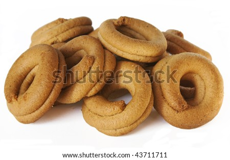 Greek grape juice biscuits isolated over white. - stock photo