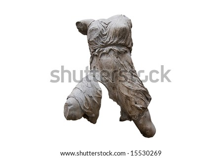 Greek headless female figure sculpted in white marble  with clipping path