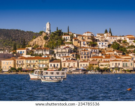 Greek island of Poros on sunny day  - stock photo