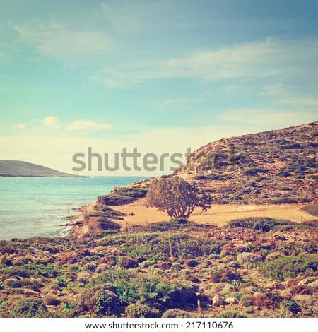 Greek Island of Rhodes with  Rugged Coast, Instagram Effect - stock photo