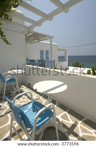 greek island patio sea view from hotel apartment - stock photo