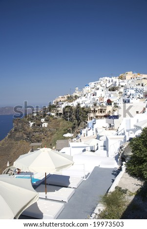 greek island patio with incredible view santorini greece - stock photo