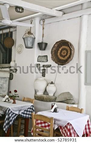 greek island restaurant A taverna in Mykonos - stock photo